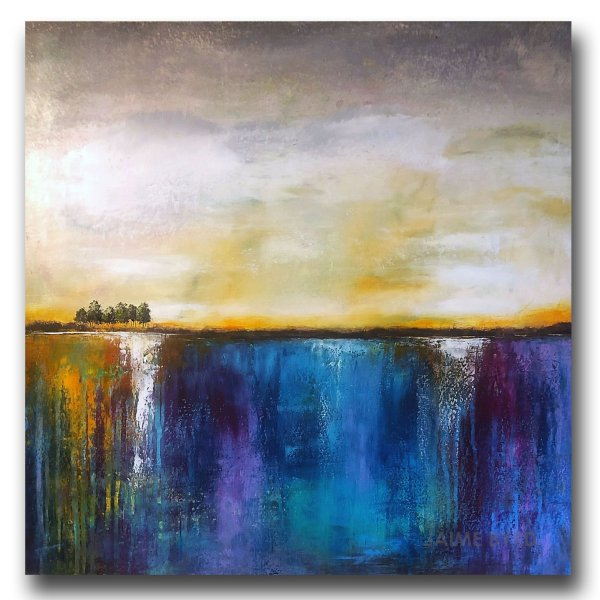 Solitude No. 2 - abstract landscape oil and cold wax painting with ar by contemporary artist Jaime Byrd