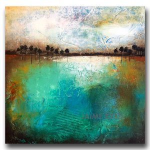 Blue green abstract landscape in oil by Jaime Byrd