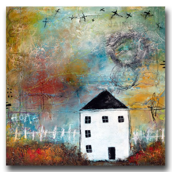 Betty's House - oil and cold wax painting with house by contemporary artist Jaime Byrd