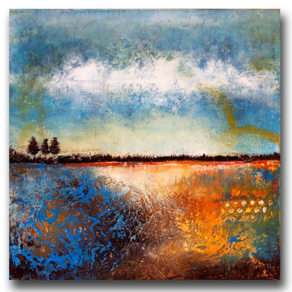 Flat Creek - abstract landscape oil and cold wax painting by contemporary artist Jaime Byrd