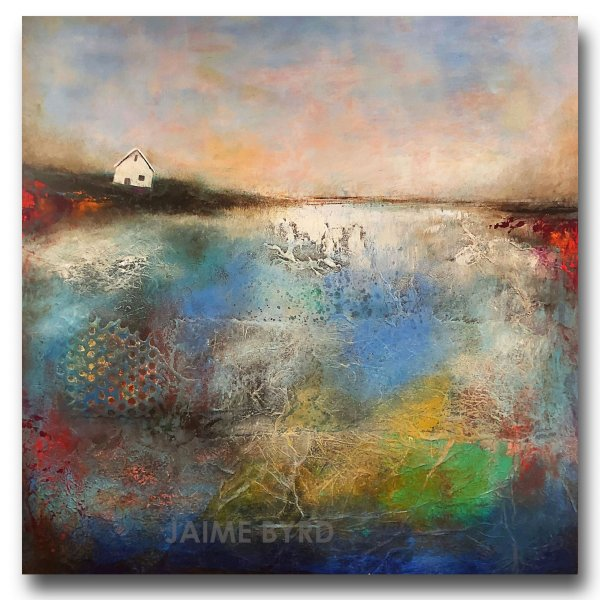 Rest Area - oil and cold wax abstract landscape with house by contemporary artist Jaime Byrd