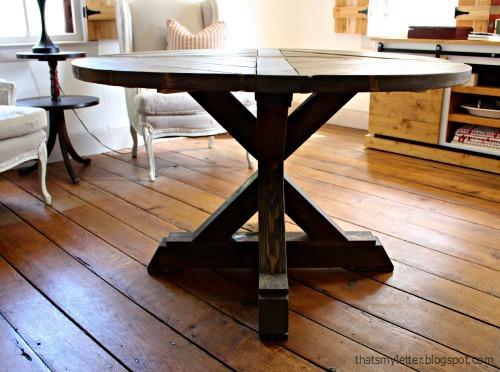 diy x base circular dining table
