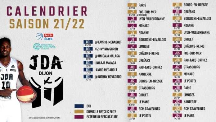 Le calendrier de la JDA Dijon pour la saison 2021/2022
