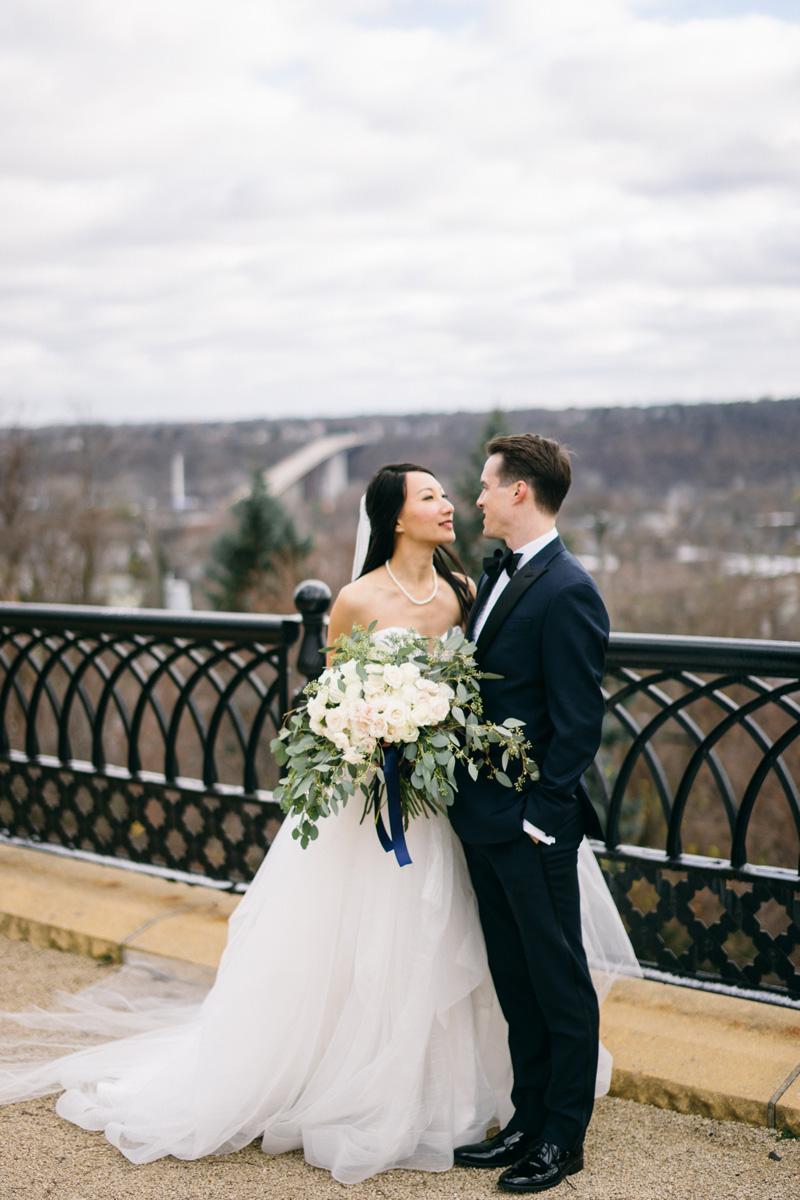 St Paul winter wedding bride and groom photos