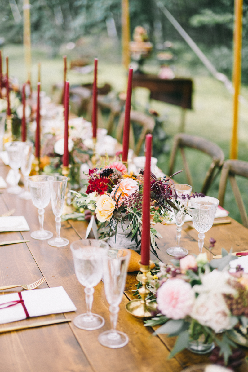 Backyard Brunch wedding with fall palette in Dayton Maine