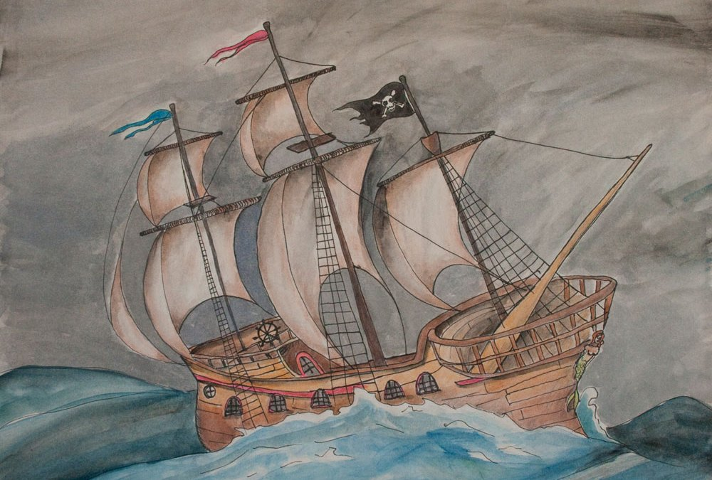 """Wooden Ship Painting """"Ghost Pirate Ship"""""""
