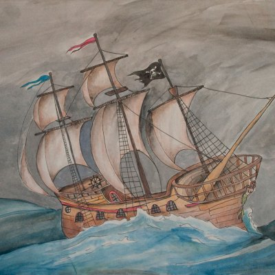 Art print of a wooden ship