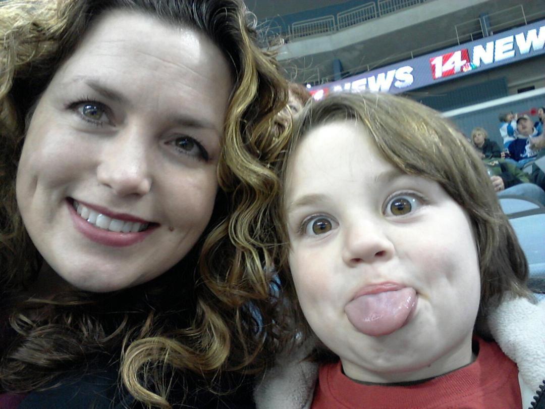 Jaime and Asher at Icemen Hockey Game