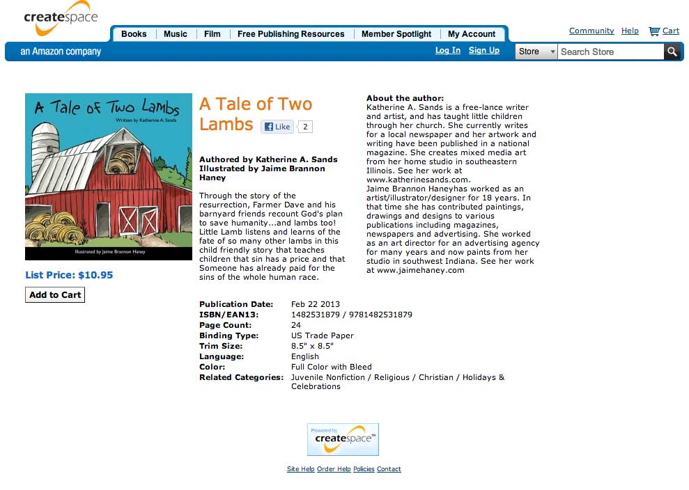 Photo with Link to CreateSpace Estore to purchase A Tale of Two Lambs