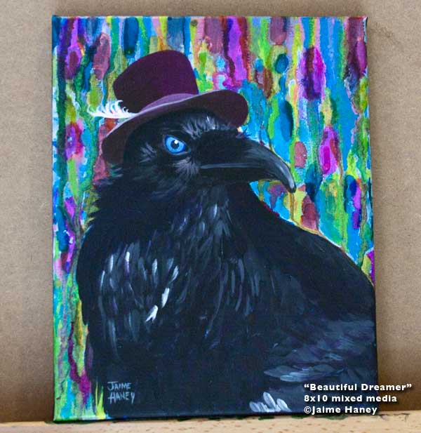 Painting of distinguished raven wearing a purple top hat