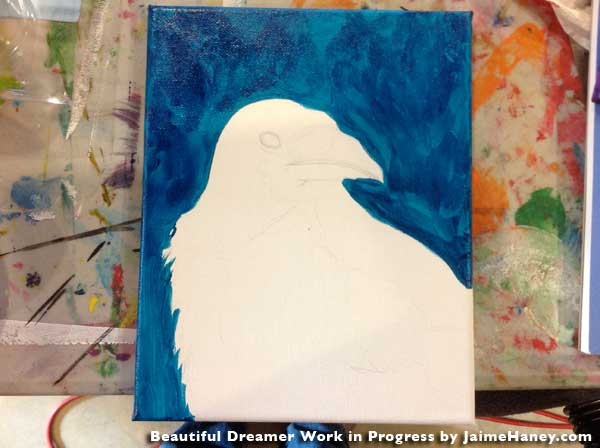 1st picture of my work in progress of my Beautiful Dreamer 8x10 mixed media painting