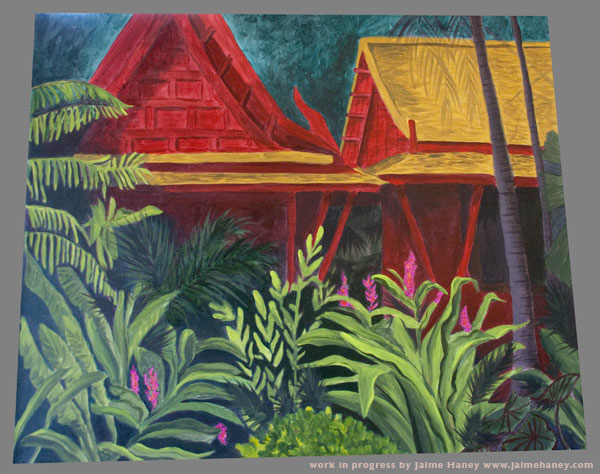 My painting of Jim Thompson House in Bangkok Work in progress