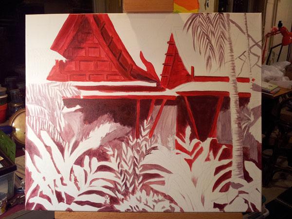 "work in progress of painting ""Tropical Getaway"" underpainting"