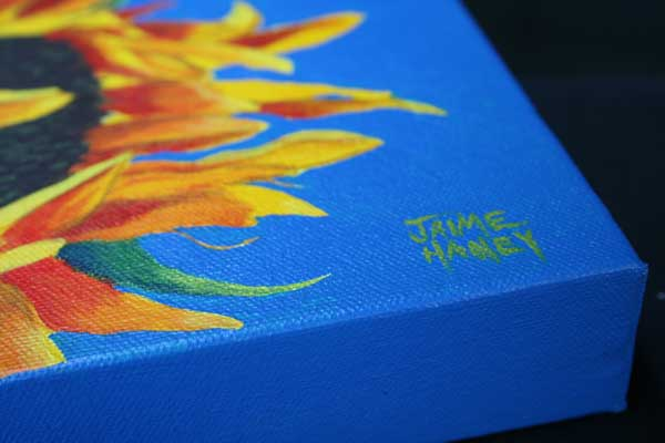 """All Ablaze"" sunflower painting with signature on gallery wrapped 8""x8"" canvas"