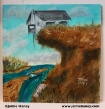 painting of house hanging onto a cliff after partly falling into the river that runs below