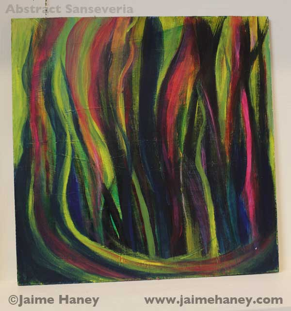 abstract painting of sansevieria or commonly called Mother-in-laws tongue