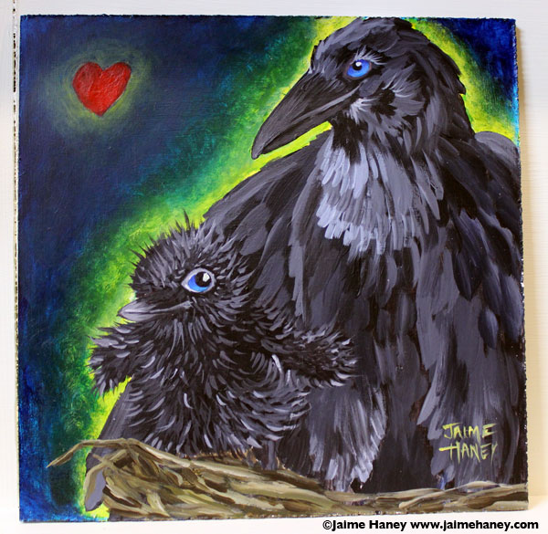 painting of mama crow and baby in nest