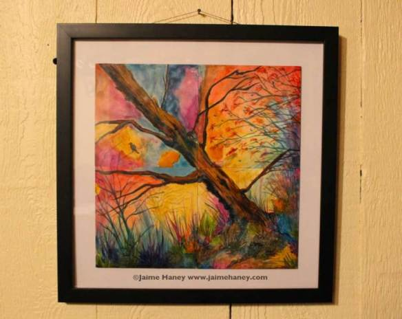 """Photo of my framed acrylic 4 panel painting titled """"Patchwork Sky"""""""