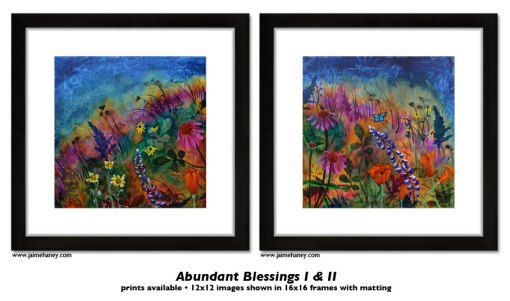 Abundant Blessings print shown in 16x16 frame with matting