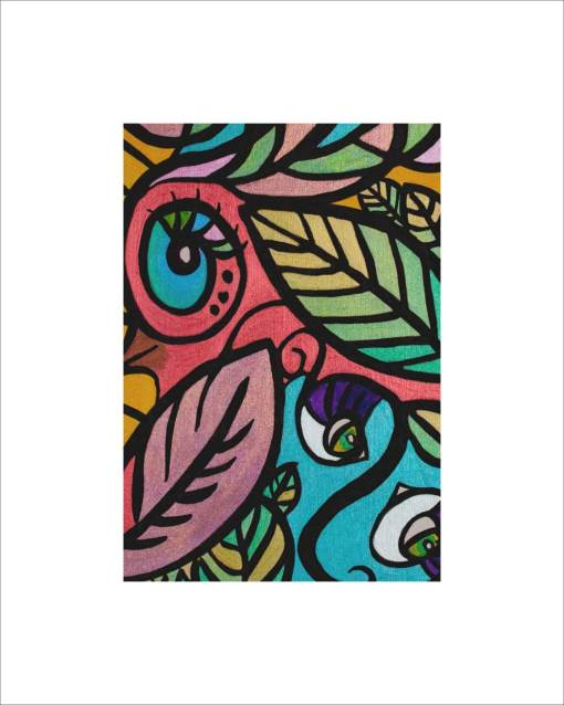 Print of a vividly colored abstract painting of a girl and her bird