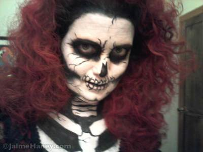 Red Death Halloween costume, hair and makeup