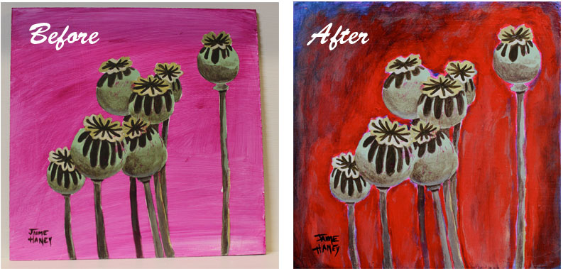 Before and After ReWorking Poppy Pods