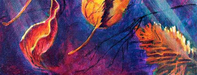 New vibrant 8×10 painting of falling leaves – Bittersweet Surrender