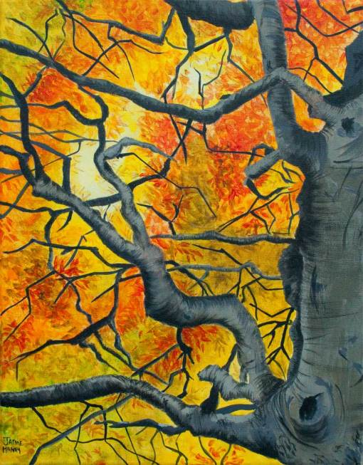 Tangled is a painting of fall colored leaves of orange, red, yellow on a beech tree.
