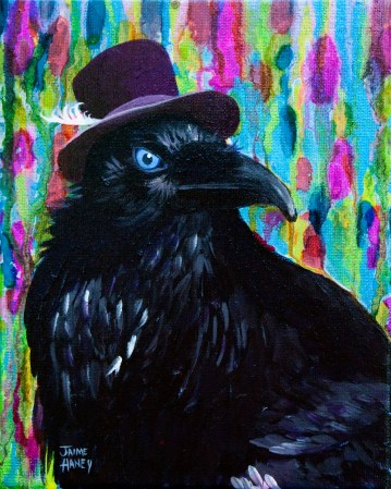 Raven wearing purple hat with white feather.