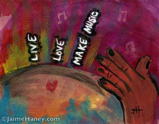 hand beating drum representing earth with Live Love Make Music words
