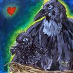 Mama and baby crow on nest with heart in top right corner