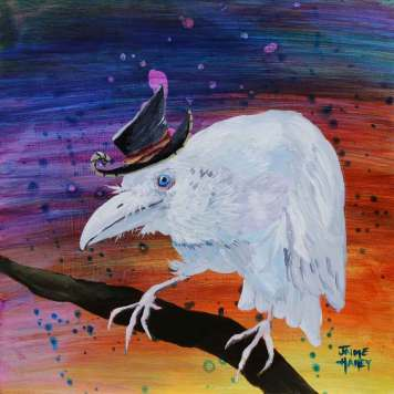 Old white crow with whimsical hat sitting on a branch