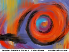 swirls and bright colors make this abstract piece