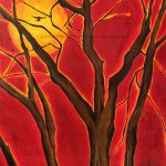 Red sky behind large tree without leaves and a raven silhouette flying into the sun