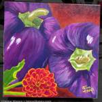 photo of purple peppers painting titled Summer of Purple