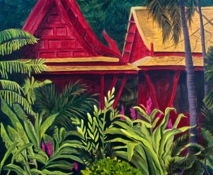 Tropical scene with red buildings with thatch roof and tropical plants and trees