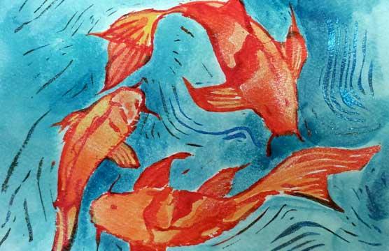 Hand embellished koi fish mono print