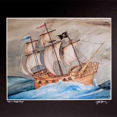 matted print of wooden pirate ship painting
