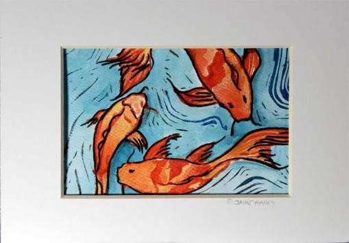 hand carved, hand pulled koi fish monoprint