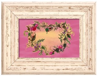 "framed painting ""You're growing on me"" vines around a heart"