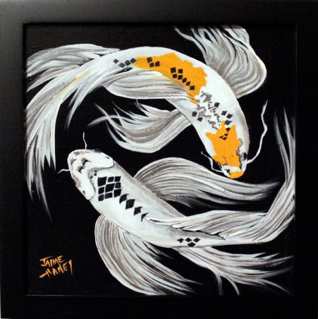 """Framed Koi Fish Painting """"Harlequin Dance"""""""
