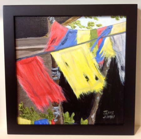Tattered Prayers painting of prayer flags in a frame