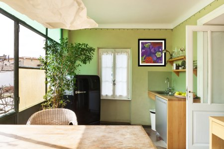 shown in kitchen: Two purple fresh bell peppers painted on a smoky orange background