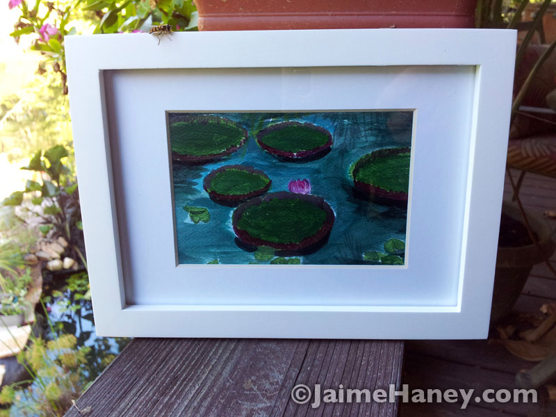 Pond-study-Victoria-Lilies-matted-and-framed
