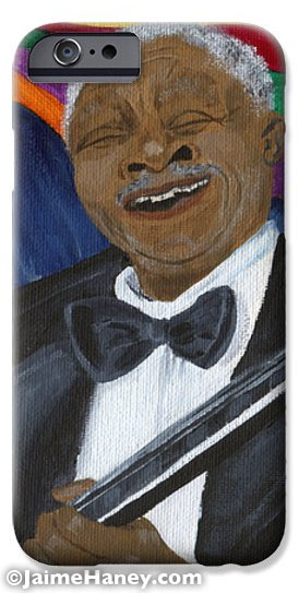Cell phone case with B.B. King painting