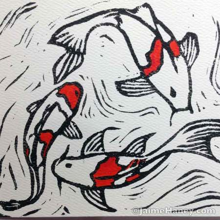 Koi fish monoprint, Beloved Koi. Black and white with a splash of orangey red on one of a kind hand pulled monoprint