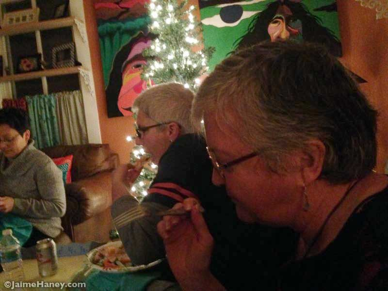 eating together for Winter Solstice Celebration
