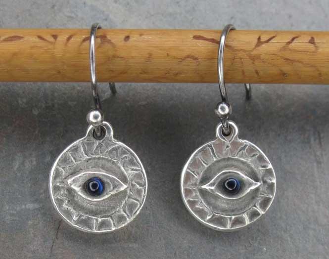 Evil Eye earrings by Tiffany Piazza of Dharma Cowgirl