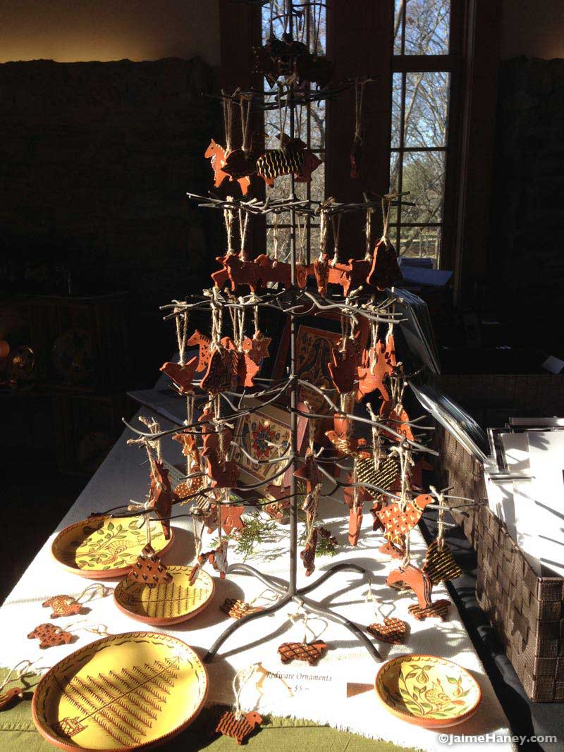 Bee Tree Pottery, early American Redware ornaments booth in Christmas in New Harmony 2015