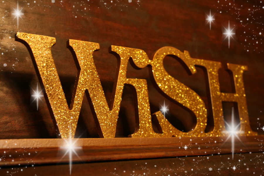 Wish in gold and sparkly giltter